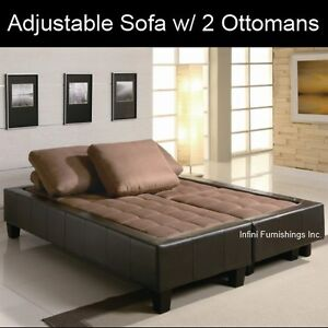 Adjustable Sofa Bed Futon Couch Faux Leather with 2 Ottomans Modern Sectional