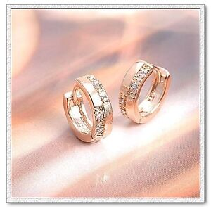 Elegant 18k Gold Plated Rhinestone Zircons Gemstone Earrings Hoops E43