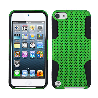 For Ipod Touch 5 5th Gen Mesh Hybrid Silicone Rubber Skin Case Cover Green