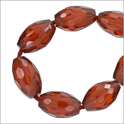 Cubic Zirconia Rice Oval 6x9mm Beads 7pc Garnet Red 64307