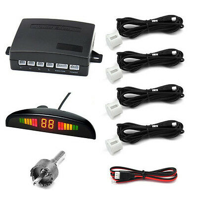 Car Auto Parking Sensor System Reverse Backup Rear Radar Alert LED 4 Sensors Sys on Rummage
