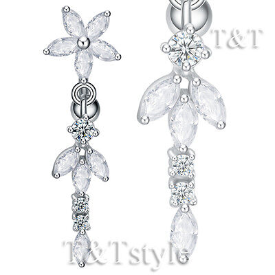 T&t Reverse Clear Cz Flower Dangle Belly Bar Ring Bl528a