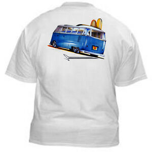 Kurbside-Kustoms-Blue-VeeDub-Bus-Surf-Board-Haulin-Hot-Rod-T-shirt-SS-367