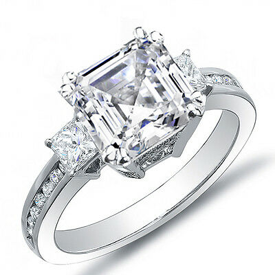 2.90 Ct. Asscher Cut w/ Princess Cut Diamond Engagement Platinum Ring G,VS1 GIA