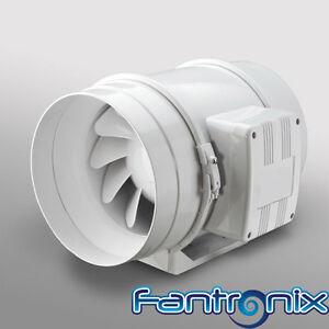 Timer Fan In Line Mixed Flow 4'' 100mm Bathroom Shower Wet Room Extractor Fan