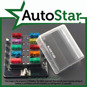 10-Way-Blade-Fuse-Box-Positive-Bus-in-12v-LED-WARNING-Kit-Car-Boat-Marine-Trike