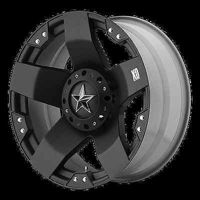 "20"" X 8.5"" ROCKSTAR BLACK RIMS W/ 37X13.50X20 TOYO OPEN COUNTRY MT WHEELS TIRES"
