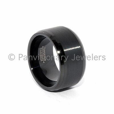 12mm Black Ip Brushed Bevel Tungsten Carbide Ring Wedding...