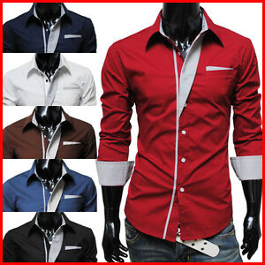 N320-TheLees-Mens-Casual-Long-Sleeve-Stripe-Patched-Fitted-Dress-Shirts