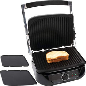 Electric panini press sandwich toaster indoor grill w 2 removable plates ebay - Grill with removable plates ...