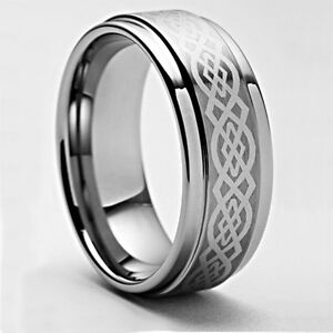 Mens-Celtic-Tungsten-Carbide-Ring-Wedding-Band-Size-4-18