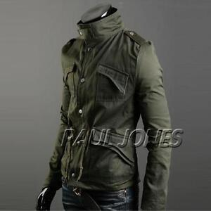 NWT-Mens-Stylish-Slim-Fit-ZIP-Button-Coats-Hoody-CHIC-MILITARY-Jackets-3Colors