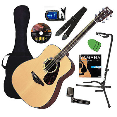 Yamaha FG700S Acoustic Guitar - Natural, Solid Top GUITAR ESSENTIALS BUNDLE on Rummage