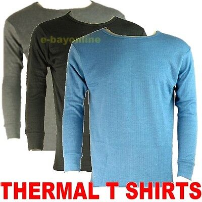 MENS THERMAL TOP T SHIRT LONG SLEEVE UNDERWEAR EXTRA WARM BRUSHED INSIDE *S-XXL*