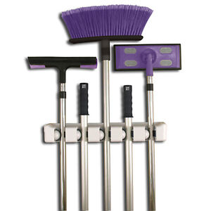NEW 5 Position Magic Mop and Broom Holder Rack Organiser Wall Mounted Mountable