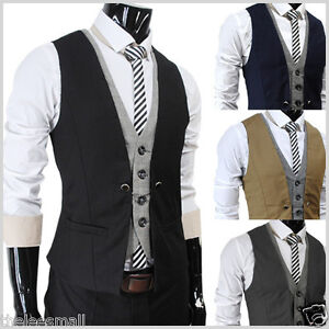 THELEES-VE34-Mens-premium-Business-Casual-Layered-style-Slim-Vest