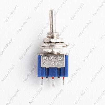 5 X Mini Toggle Switch Spdt On-off-on 3 Position Blue 6mm 12v 110v 220v Mts-103