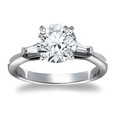 1 Round Cut Diamond Solitaire Engagement Ring SI D 14K White Gold Enhanced