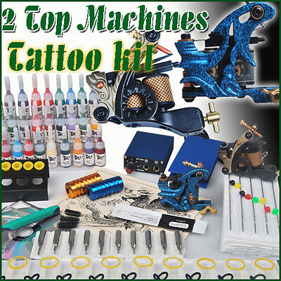 Complete Tattoo Kit 2 Top Machines 28 Color Inks Power Shipping From USA MGT-16 on Rummage