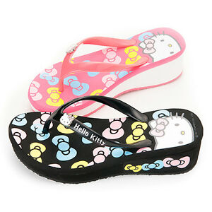 Sanrio-Hello-Kitty-Ladys-Slippers-Flip-Flops-Low-Heels-Black-Pink-910668