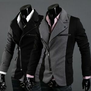 Mens-Irregular-Style-Suit-Slim-fit-Zipper-Casual-Blazers-Sport-Coat-Jackets-X08