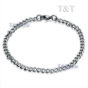 High-Polished-T-T-4-5mm-Stainless-Steel-Curb-Chain-Bracelet-Silver-CB78