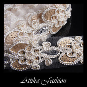 Dazzling Silky Embroidered Sequin Lace Fabric Trim *per yard*