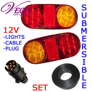 14 Bulb LED Trailer Truck Boat  Caravan Ute Light  Stop/Tail  Wire Plug Kit 12V