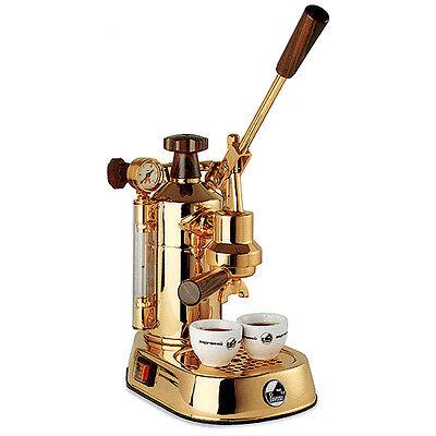 2017 La Pavoni Professional Pdh Gold Wooden Handgrips Maker Espresso Machine