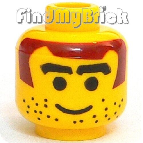 H008B Lego Head Male with Brown Hair Thick Eyebrows Stubble Pattern 3578 NEW
