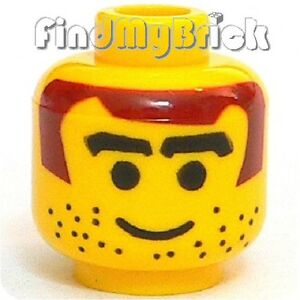 H008B-Lego-Head-Male-with-Brown-Hair-Thick-Eyebrows-Stubble-Pattern-3578-NEW