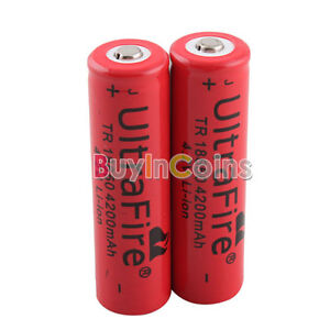 2PCS-UltraFire-18650-4200mAh-4-2V-Rechargeable-Lithium-Battery-Red