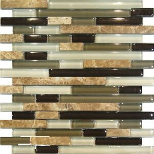 sample marble green brown glass linear mosaic tile
