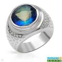 STYLISH COCKTAIL RING W/ SIMULATED GEMS CRAFTED IN SILVER