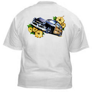 Kurbside-Kustoms-Hot-Rod-T-Shirt-SS389-Cool-Classic-Car-Black-1951-Woodie-Wagon