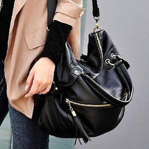 Lady-Korean-Hobo-PU-Tassel-Leather-Handbag-Shoulder-Bag-ladybag10black