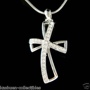 w-Swarovski-Crystal-Stylish-Infinity-Cross-Jesus-Christ-God-Religious-Necklace