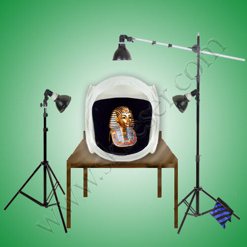 PBL Photo Studio 30in Tent, Hi-output Bulbs, With Boom 75...