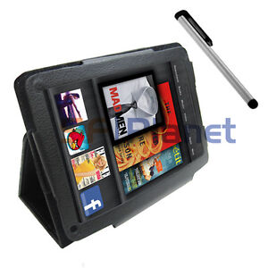 Black Folio Leather Case Cover+Touch Screen Stylus Pen For Amazon Kindle Fire