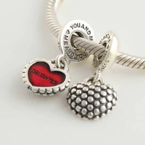 MOTHER/DAUGHTER RED DANGLE HEART Sterling Silver European Charm Bead