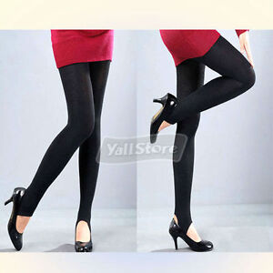 Black-Opaque-Velvet-Stirrup-Tights-Pants-Leggings-New