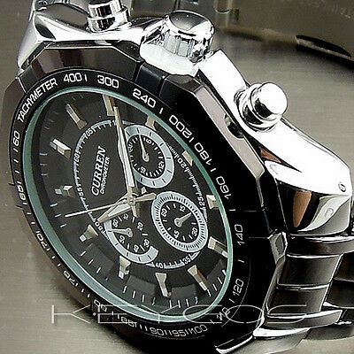 NEW LUXURY ELEGANT QUALITY SPORT MEN FASHION STAINLESS STEEL WRISTWATCH WV006