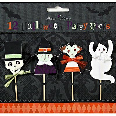 12 Halloween Food Picks Or Cupcake Toppers Ghost Vampire Witch Skeleton