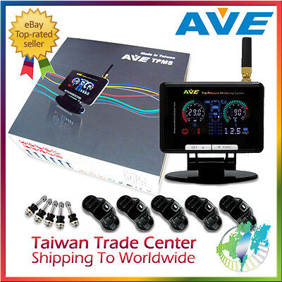 AVE Universal Wireless LCD Monitoring System TPMS 5 Sensors & LF Remote Control