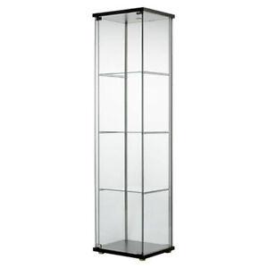 New-IKEA-Detolf-Glass-Door-Display-Cabinet-Curio-Black-Brown