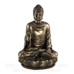 Small Seated Buddha Shakyamuni Statue | Amitabha Buddhism Figure Bronze Color
