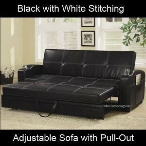 Modern Black Adjustable Sofa Bed Futon Couch Faux Leather Furniture Pull Out