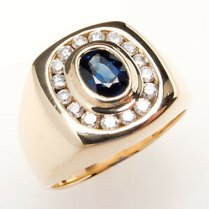 mens blue sapphire ring solid 14k gold