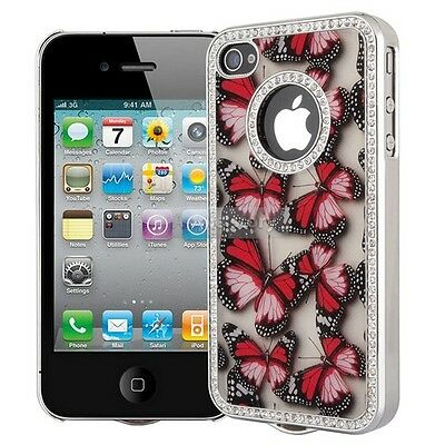 Butterfly Bling Diamond Chrome Rhinestone Hard Case Cover For iPhone 4 4S 25A on Rummage