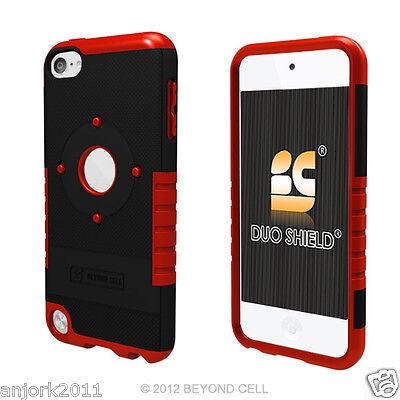 Apple Ipod Touch 5 Hybrid Case Dual Layer Skin Cover Accessory Black Red
